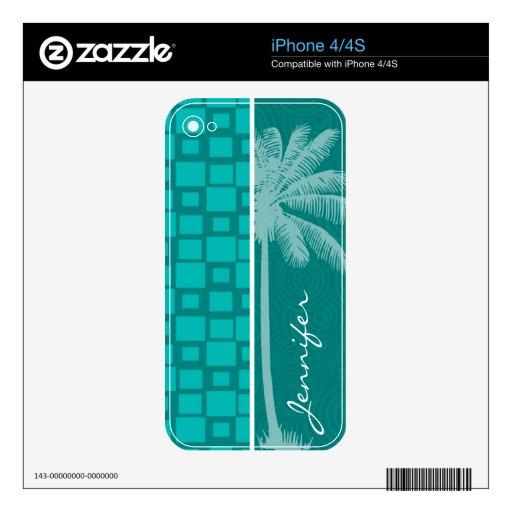 Cuadrados tropicales de la turquesa calcomanía para el iPhone 4S