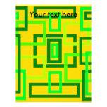 Cuadrados verdes claros retros en fondo amarillo membrete a diseño