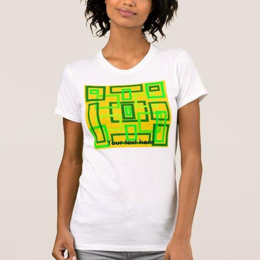 Cuadrados verdes claros retros en fondo amarillo camiseta