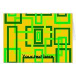 Cuadrados verdes claros retros en fondo amarillo felicitación