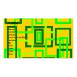 Cuadrados verdes claros retros en fondo amarillo tarjeta de visita