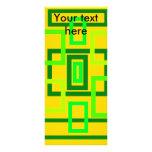 Cuadrados verdes claros retros en fondo amarillo tarjetas publicitarias personalizadas