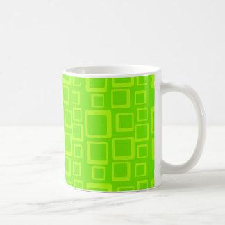 Cuadrados verdes de Fluo de los años 60 de la Taza