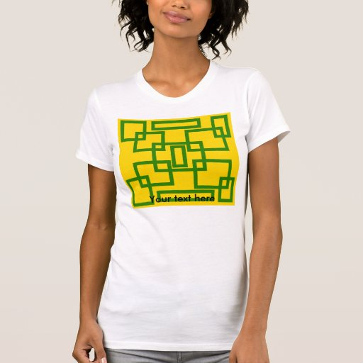 Cuadrados verdes retros en fondo amarillo playeras