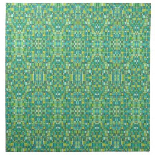 Cuadrados verdes servilleta imprimida