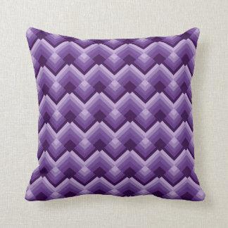 Cuadrados violetas del zigzag cojin