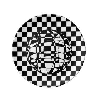 """Cuadrados y esfera 8,5"""" placa de la porcelana plato de cerámica"""