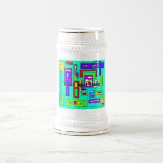 Cuadrados y modelo multicolores del rectángulo en  taza de café