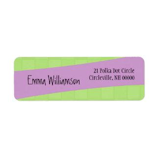 Cuadrados y púrpura modernos del verde del estilo etiqueta de remite
