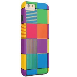 Cuadrados y rayas brillantemente coloreados funda para iPhone 6 plus tough