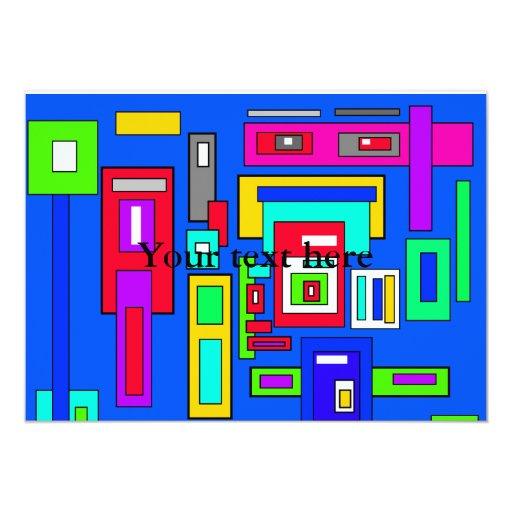 Cuadrados y rectángulos multicolores en azul invitación 12,7 x 17,8 cm
