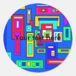 Cuadrados y rectángulos multicolores en azul pegatina redonda