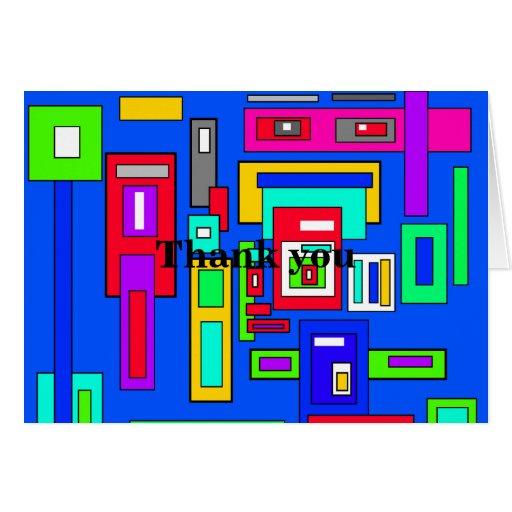 Cuadrados y rectángulos multicolores en azul tarjetas