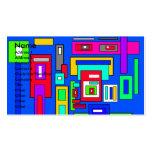 Cuadrados y rectángulos multicolores en azul tarjetas de visita