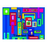 Cuadrados y rectángulos multicolores en azul postal