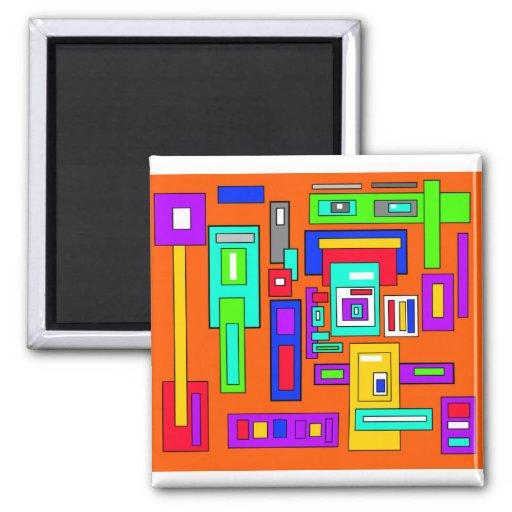 Cuadrados y rectángulos multicolores en el naranja iman para frigorífico