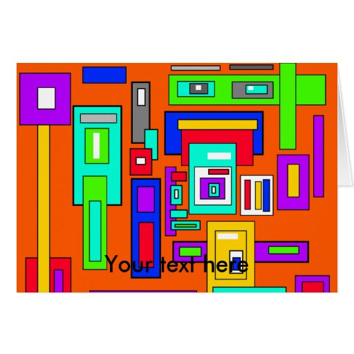 Cuadrados y rectángulos multicolores en el naranja tarjeta pequeña