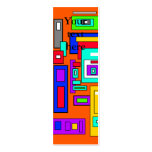 Cuadrados y rectángulos multicolores en el naranja tarjetas de visita