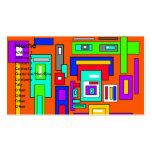 Cuadrados y rectángulos multicolores en el naranja plantilla de tarjeta de visita