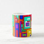 Cuadrados y rectángulos multicolores en el naranja taza de café