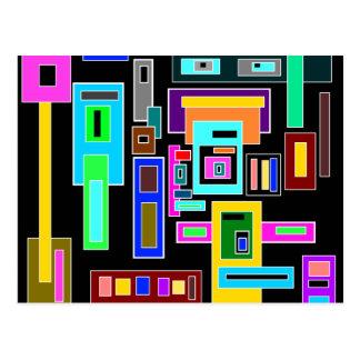 Cuadrados y rectángulos multicolores en negro postales