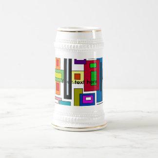 Cuadrados y rectángulos multicolores retros taza de café