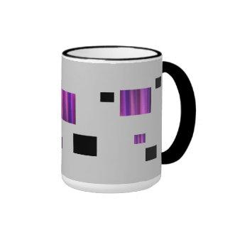 Cuadrados y rectángulos negros y púrpuras taza de dos colores