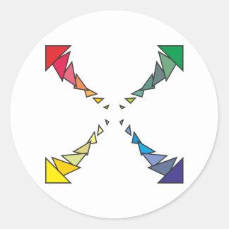Cuadrilátero triángulos square triangles pegatinas redondas
