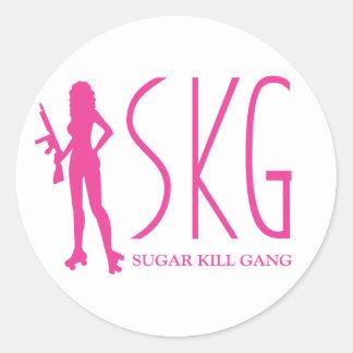 Cuadrilla de la matanza del azúcar pegatina redonda