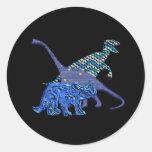 Cuadrilla del dinosaurio pegatina redonda
