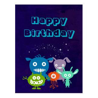 Cuadrilla del feliz cumpleaños de criaturas lindas tarjetas postales