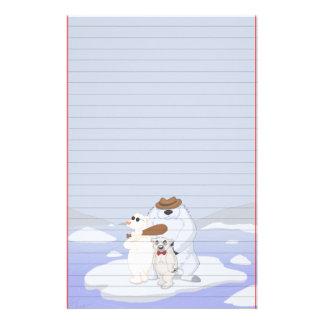 Cuadrilla del oso polar en los efectos de escritor papelería personalizada