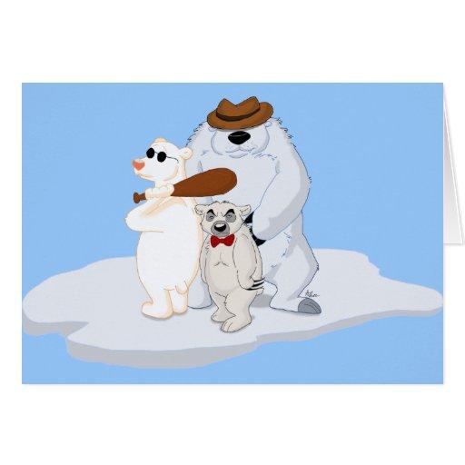 Cuadrilla del oso polar en tarjeta del hielo