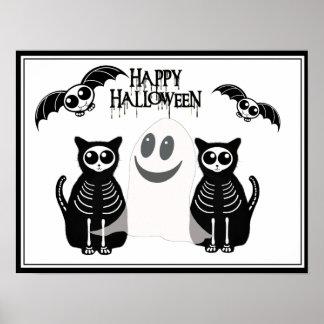 Cuadrilla esquelética de los animales de Halloween Póster