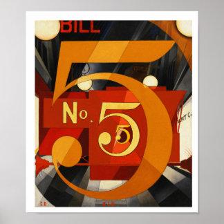 Cuadro 5 en oro de Charles Demuth Poster