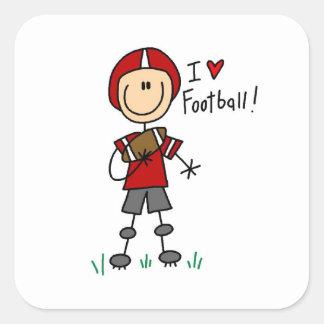 Cuadro camisetas y regalos del palillo del fútbol calcomanía cuadradas personalizadas