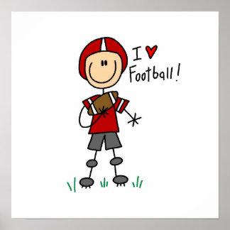 Cuadro camisetas y regalos del palillo del fútbol  póster