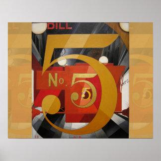 Cuadro cubista 5 de Demuth del arte moderno en oro Posters