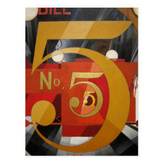Cuadro cubista 5 de Demuth del arte moderno en oro Tarjeta Postal