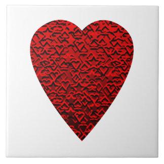 Cuadro rojo brillante del corazón azulejo cuadrado grande