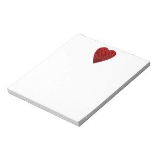 Cuadro rojo brillante del corazón bloc de papel