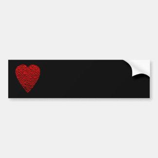 Cuadro rojo brillante del corazón pegatina de parachoque