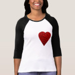 Cuadro rojo brillante del corazón camiseta