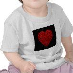 Cuadro rojo brillante del corazón camisetas