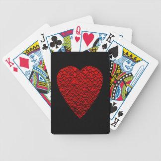Cuadro rojo brillante del corazón baraja de cartas