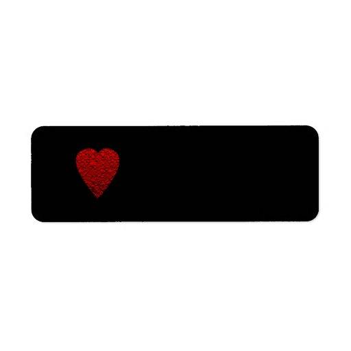 Cuadro rojo brillante del corazón etiqueta de remite