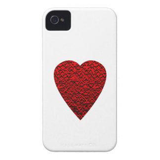 Cuadro rojo brillante del corazón Case-Mate iPhone 4 coberturas