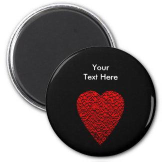 Cuadro rojo brillante del corazón imán redondo 5 cm