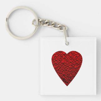 Cuadro rojo brillante del corazón llavero cuadrado acrílico a una cara