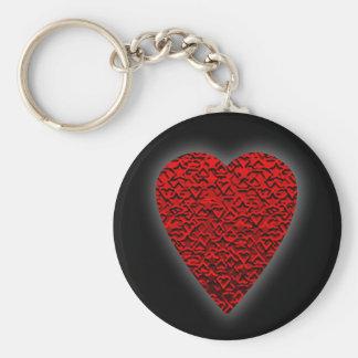 Cuadro rojo brillante del corazón llavero redondo tipo pin